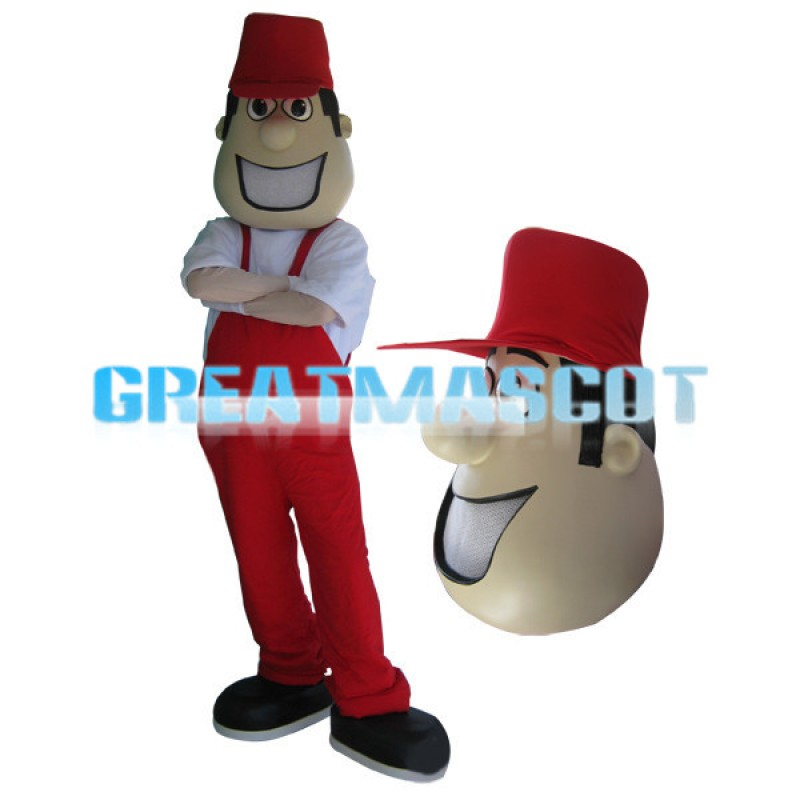 Young Man Dressed In Red With A Cap Mascot Costume