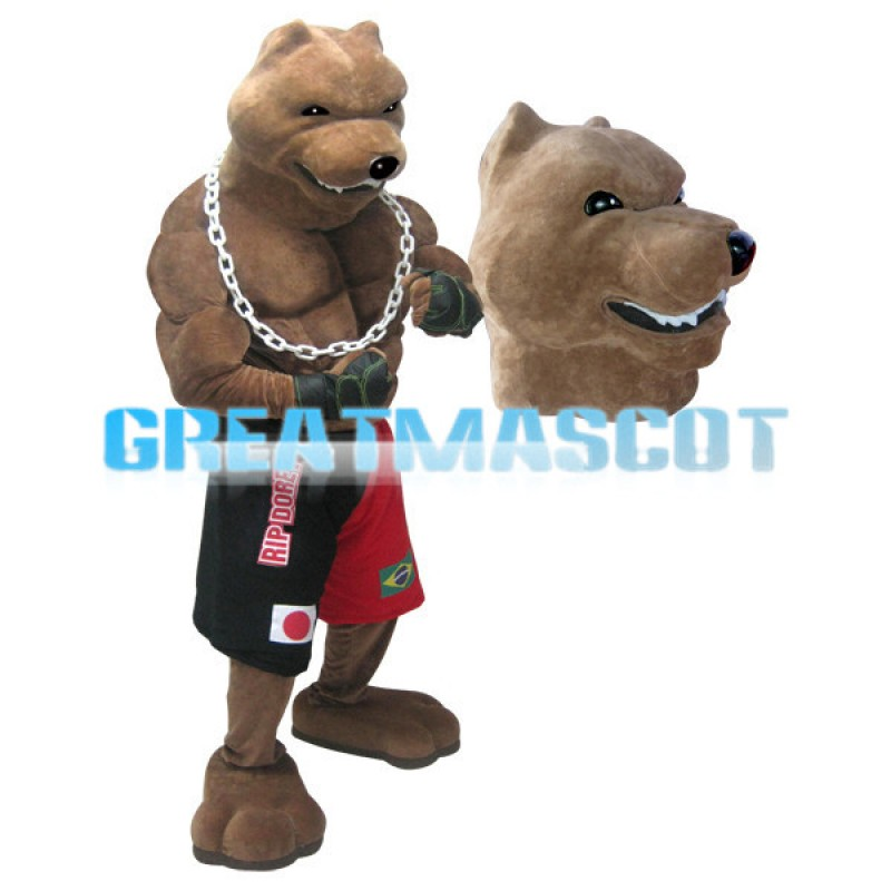 Ferocious Muscle Brown Wolf Mascot Costume
