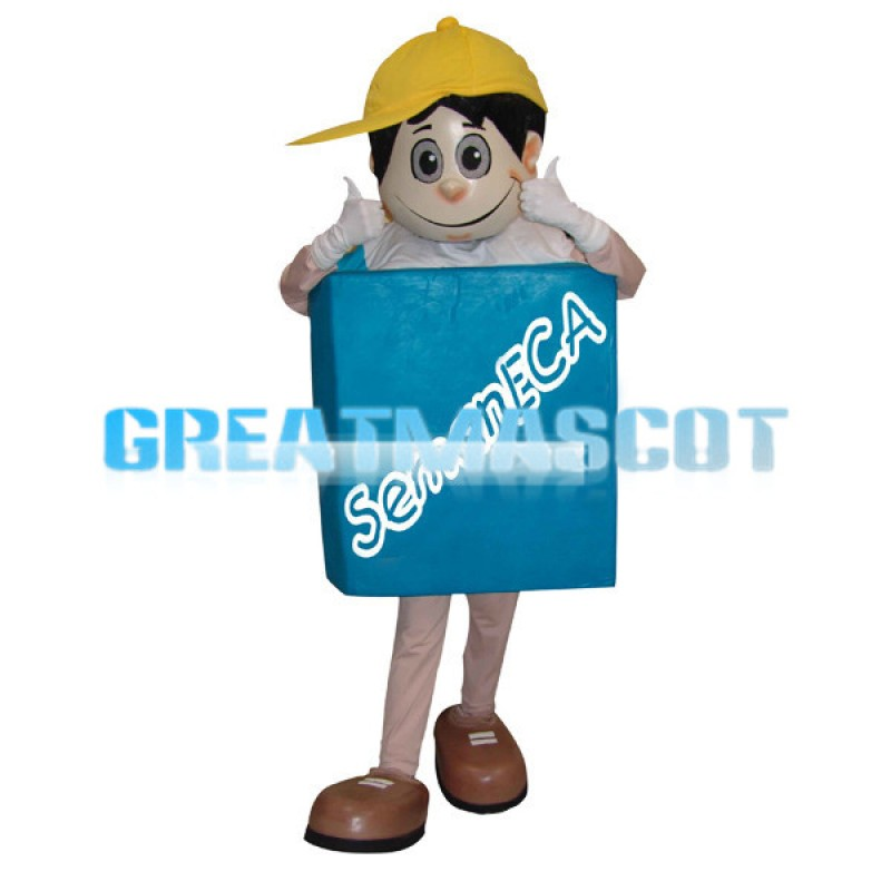 Boy With A Blue Sign On His Chest Mascot Costume