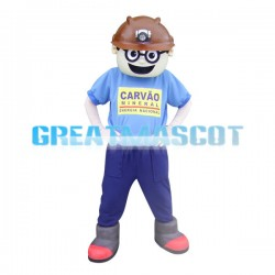 Miner With Glasses Mascot Costume