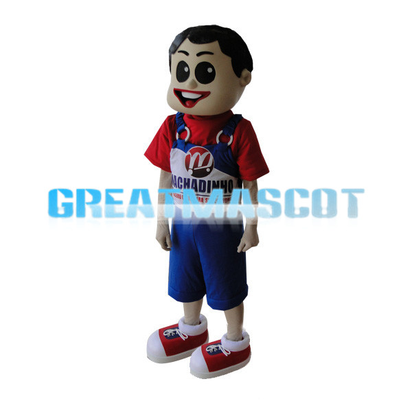 Boy Wearing Blue Overalls Mascot Costume