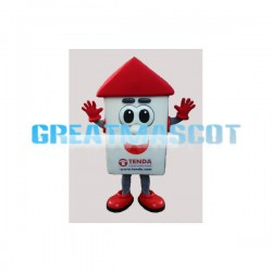 Red & White House Cartoon Mascot Adult Costume