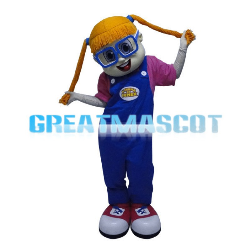 Cute Girl With Blue Glasses Mascot Costume