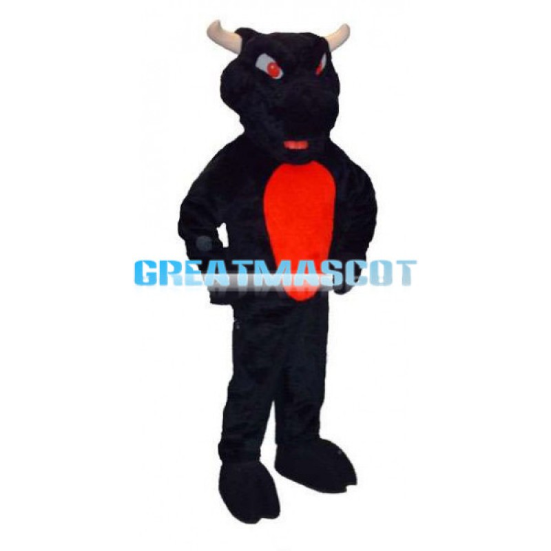 Angry Black & Red Bull Mascot Adult Costume