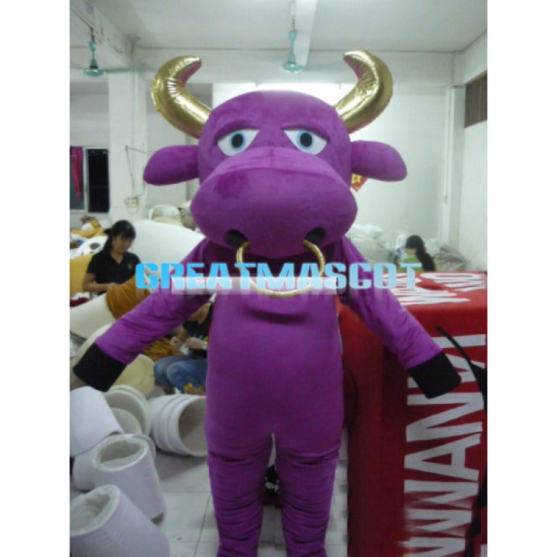 Purple Bull With Golden Horns Mascot Adult Costume