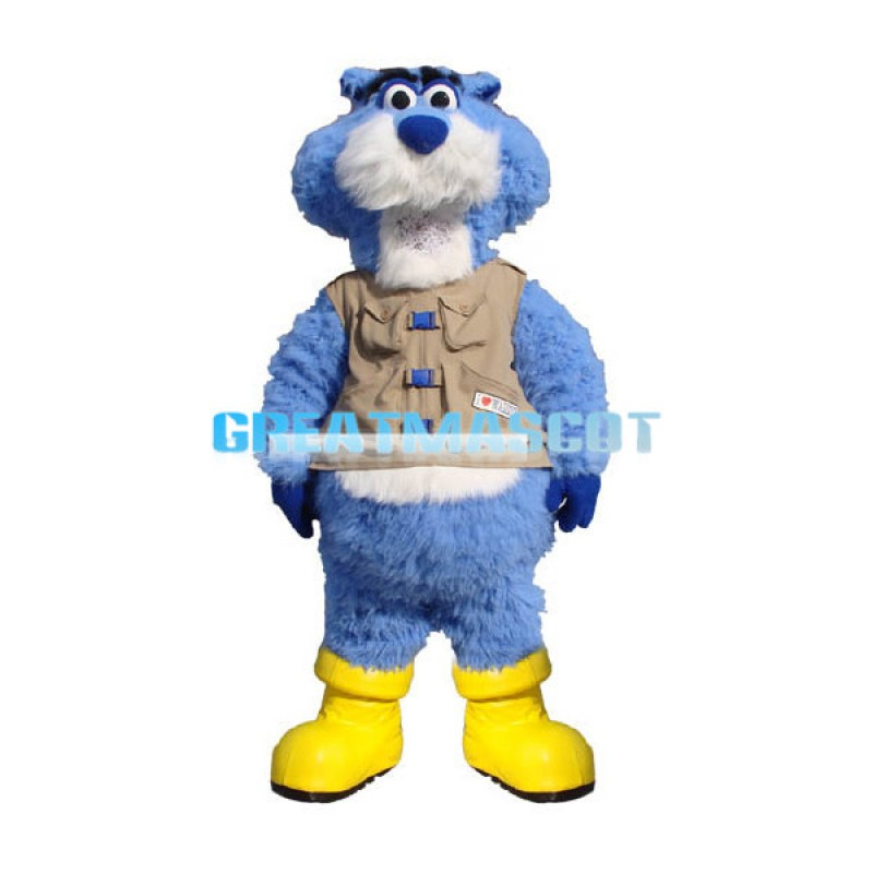 Adult Plush Blue & White Leopard Mascot Adult Costume