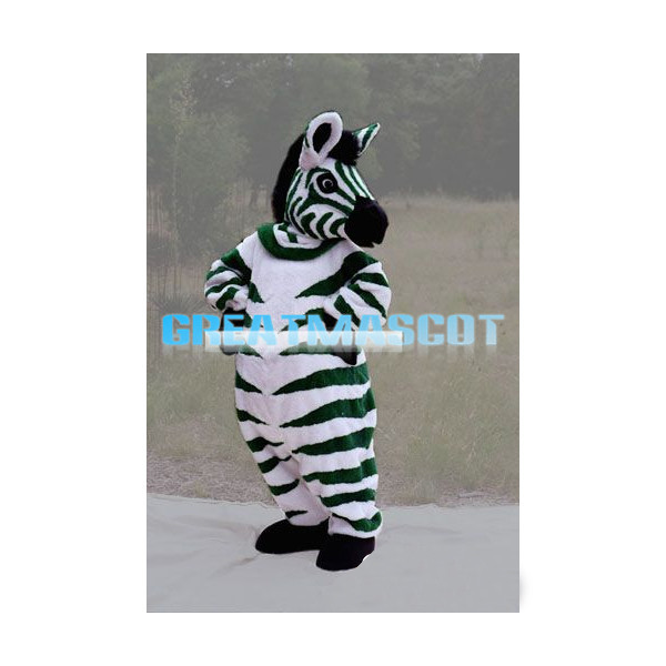 Green Zebra Mascot Adult Costume