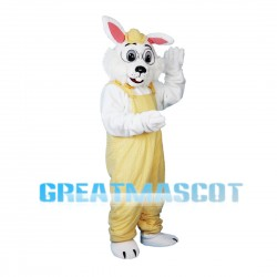 Scholar Rabbit Wearing Yellow Overalls Mascot Costume