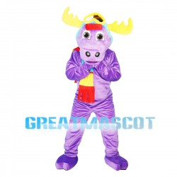 Purple Moose Wearing Colorful Scarf Mascot Costume