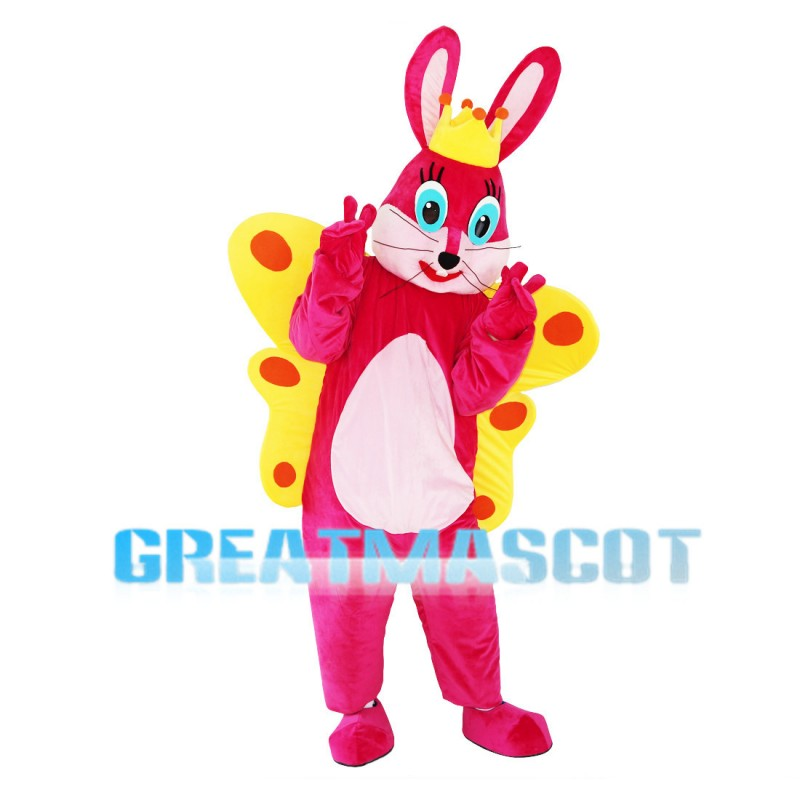 Crown Rabbit With Butterfly Wings Mascot Costume