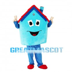 Blue House With Red Roof Mascot Costume