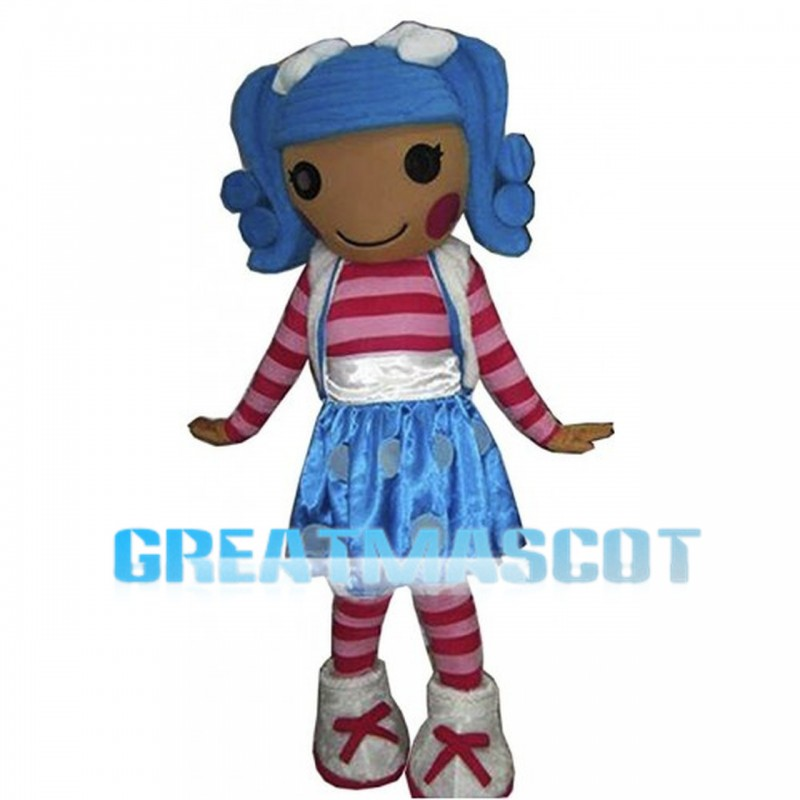 Blue Hair Girl Wearing Striped Set Mascot Costume