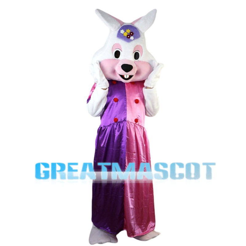 Elegant Rabbit With Pink Purple Dress Mascot Costume