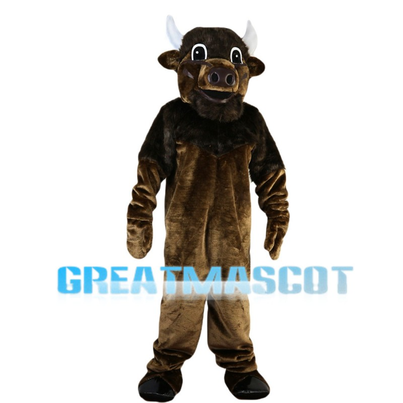 Adult Style Bull With White Horns Mascot Costume