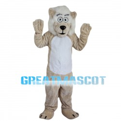 Khaki Lion With White Mane Mascot Costume