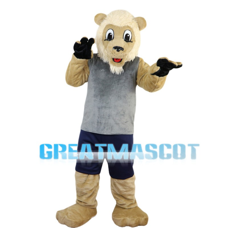 Adult Lion Wearing Gray Vest Mascot Costume