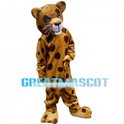 Leisurely Leopard With Blue Eyes Mascot Costume