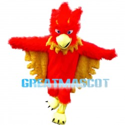 Long Fur Red Flame Bird Mascot Costume
