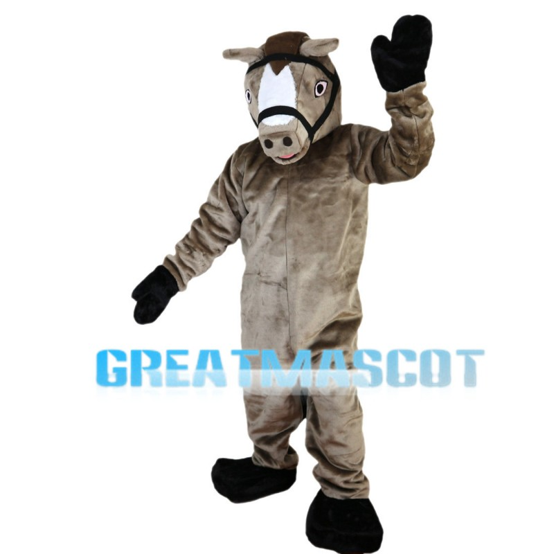 Standing Brown Horse Mascot Costume