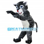 Blue Eyes Wolf With Furry Belly Mascot Costume