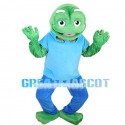 Old Frog With Blue Set Mascot Costume
