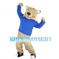 Khaki Tiger With Green Eyes Mascot Costume