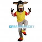 Standing Excited Brown Donkey Mascot Costume