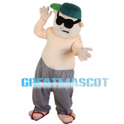 Fat Sumo Wrestler With Sunglasses Mascot Costume