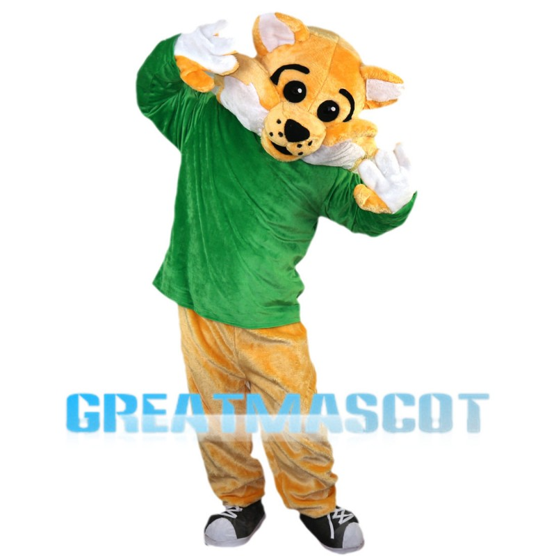 Tiger With Green Top Mascot Costume Full Set