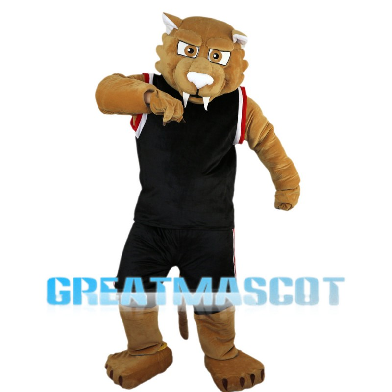 Sports Tiger With Black Set Mascot Costume