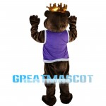 Kind Regards Bear With Crown Mascot Costume