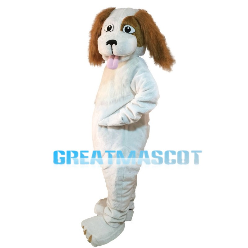 Honest White Dog With Tongue Out Mascot Costume