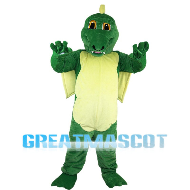 Cartoon Powerful Green Dragon Mascot Costume