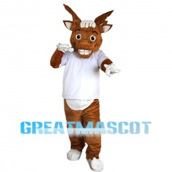 Lively Moose With White Shirt Mascot Costume