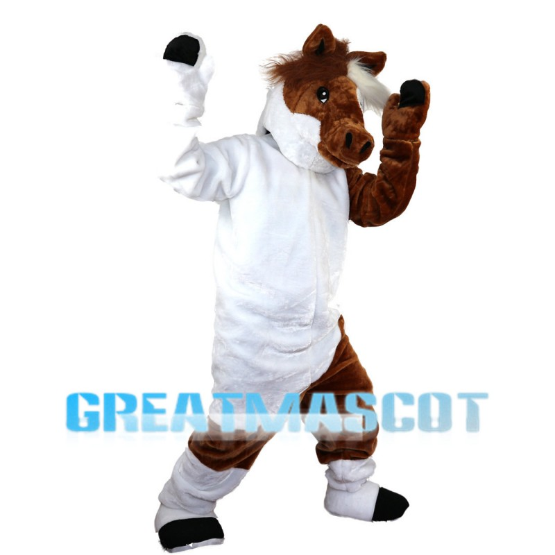White & Brown Horse Mascot Costume