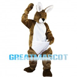 Cautious Brown Rabbit Mascot Costume