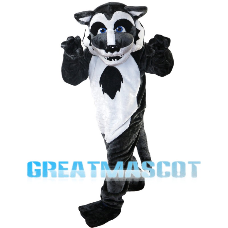 Dark Grey Wolf With Blue Eyes Mascot Costume