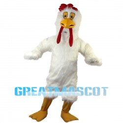 Thinking White Long Fur Chicken Mascot Costume