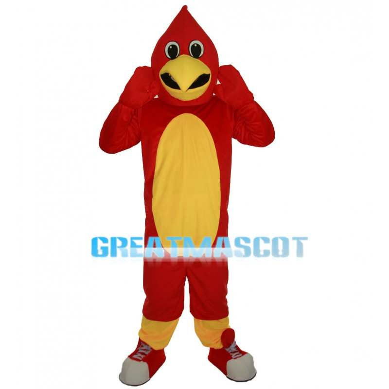 Energetic Red Bird With Sports Shoes Mascot Costume