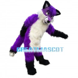 Soft Furry Purple & White Wolf Mascot Costume