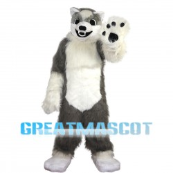 Hairy Grey & White Wolf Mascot Costume