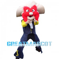 Weirdo With Face All Red Hair Mascot Costume