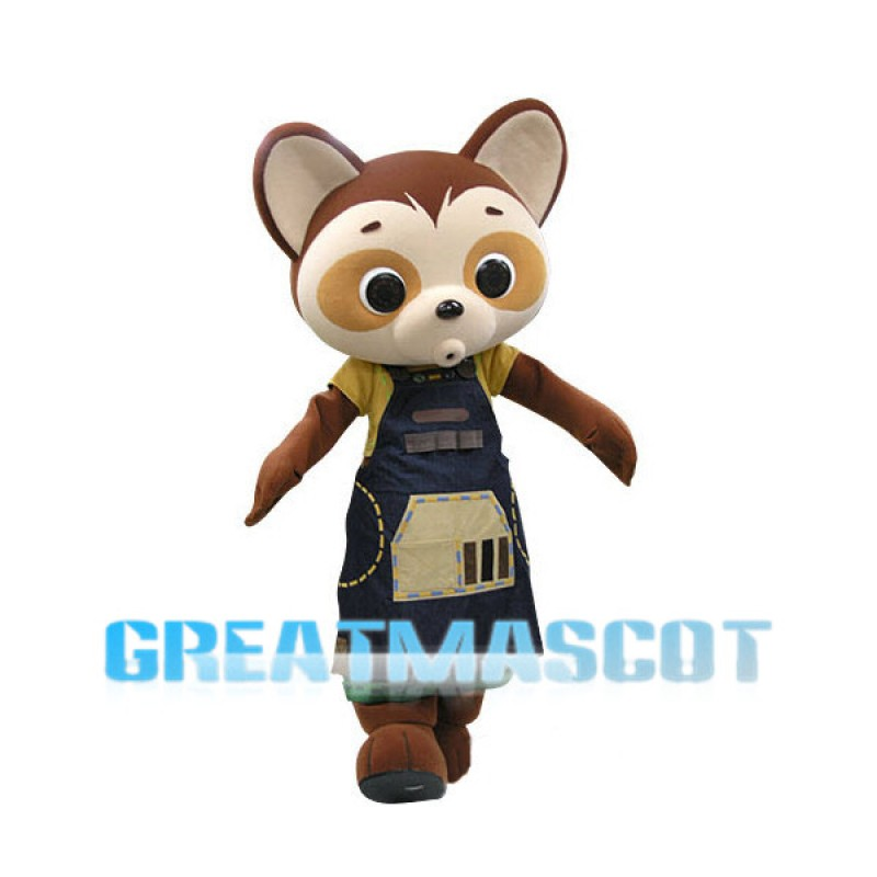 Brown Raccoon With Apron Mascot Costume