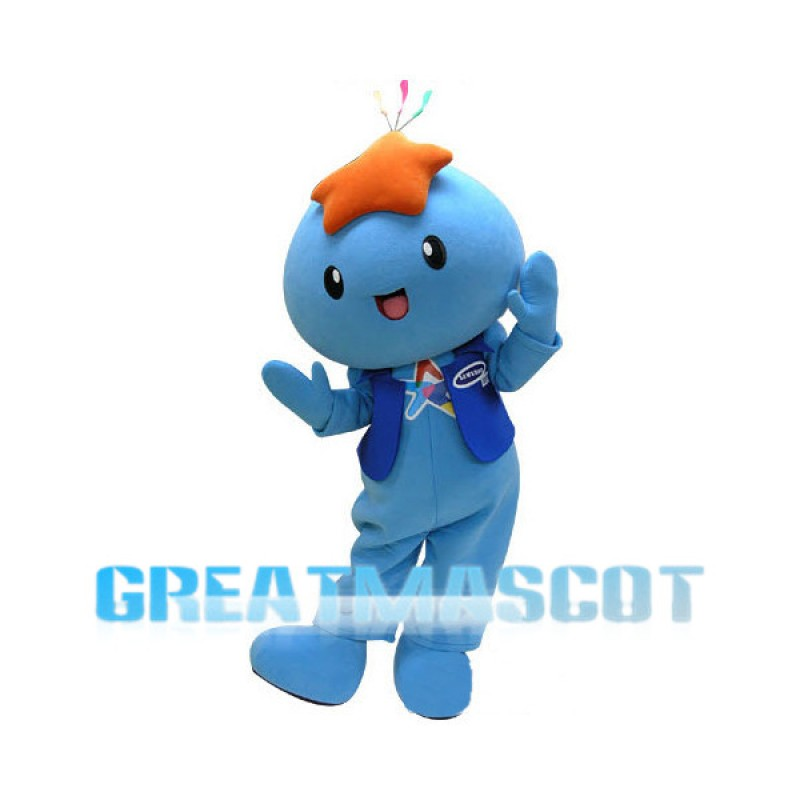 Blue Doll With Star On Head Mascot Costume