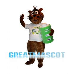 Environmentally Friendly Beaver Holding Battery Mascot Costume
