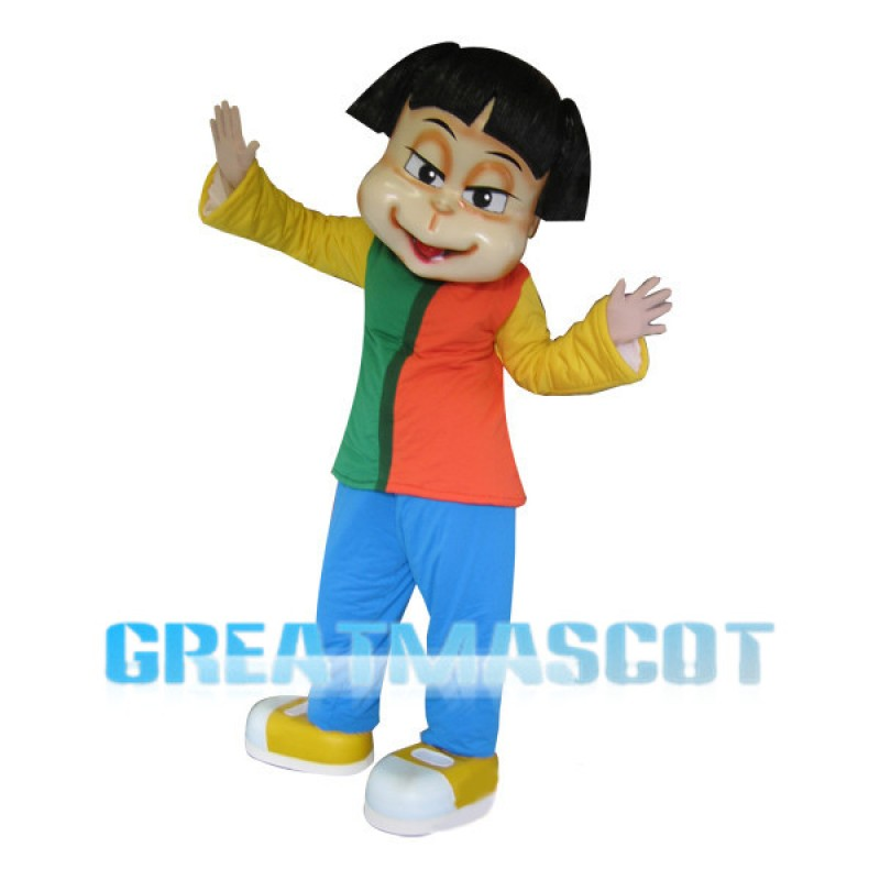 Short Hair Girl Wearing Colorful Set Mascot Costume