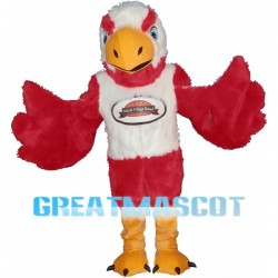 Red & White Eagle Mascot Costume For Bakery