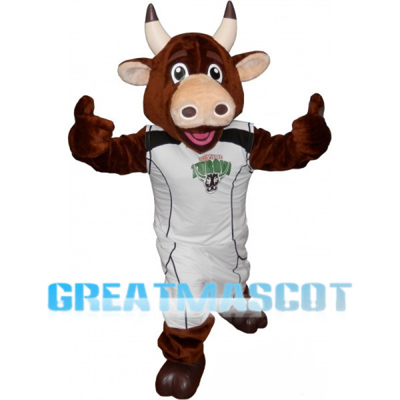 Brown Bull With Sportswear Mascot Costume