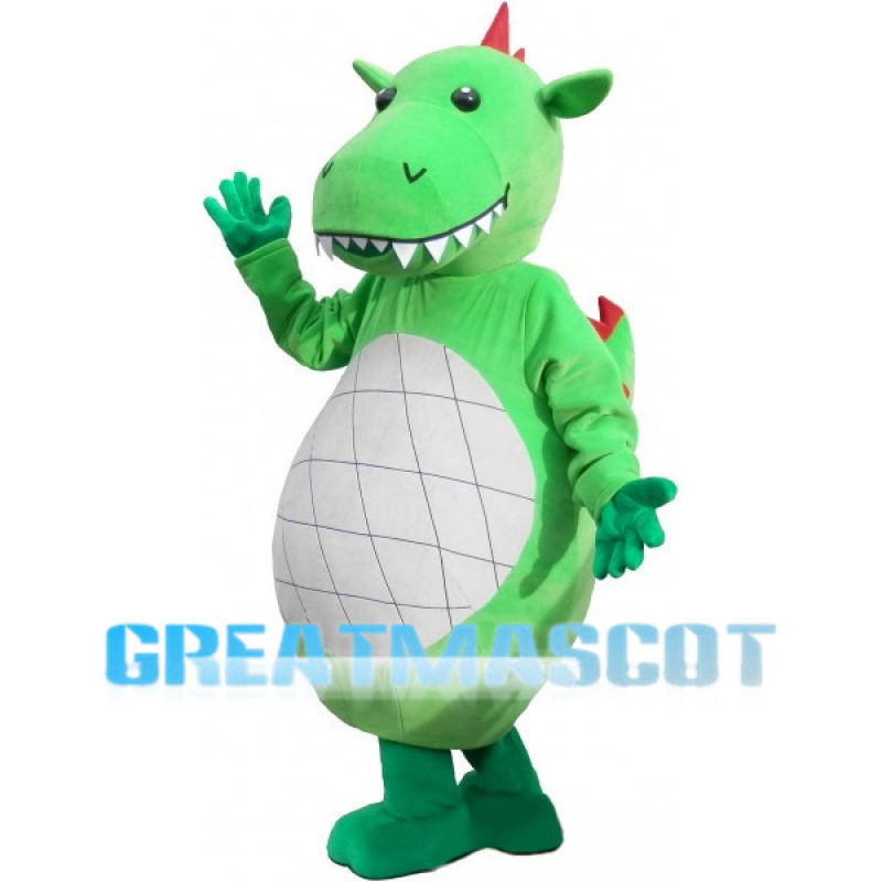 Green Cartoon Dinosaur With Sharp Tooth Mascot Costume