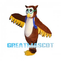 Smart Owl Carrying Blue Bag Mascot Costume